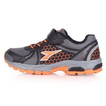 【DIADORA】男女大童越野跑鞋-慢跑 路跑 灰黑橘
