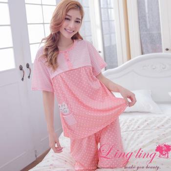 【lingling日系】全尺碼-點點條紋貓貼布孕婦裝居家短袖二件式睡衣組(淺桔粉)A2908