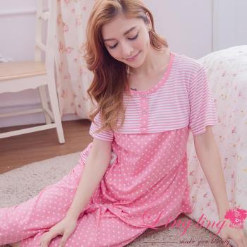 【lingling日系】全尺碼-點點條紋貓貼布孕婦裝居家短袖二件式睡衣組(柔嫩豆粉)A2908