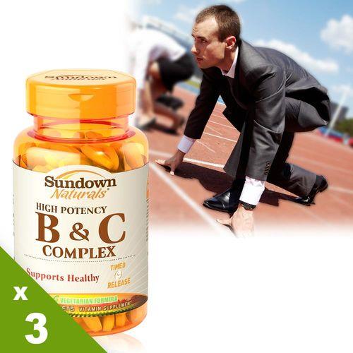 【美國Sundown日落恩賜】高單位緩釋型B群+C(B12強化配方)x3瓶(100錠/瓶)