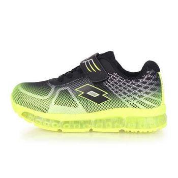 【LOTTO】男女中童避震跑鞋-慢跑 路跑 黑螢光綠