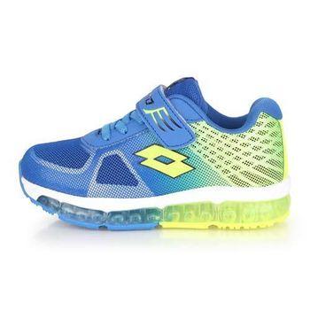 【LOTTO】男女中童避震跑鞋-慢跑 路跑 藍螢光綠