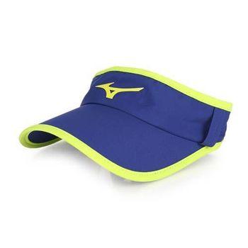 【MIZUNO】運動路跑空心帽-慢跑 防曬 帽子 深藍螢光黃
