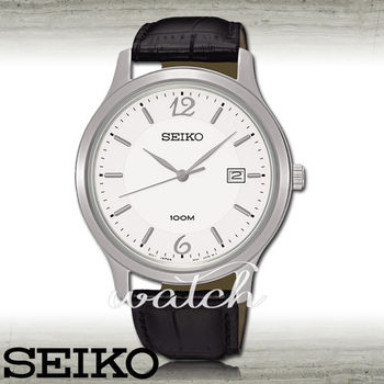 【SEIKO 精工】送禮首選-時尚大鏡面男錶_皮革錶帶_鏡面4.1cm(SUR149P1)