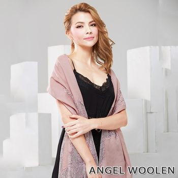 【ANGEL WOOLEN】花妍漫舞Pashmina印度手工蕾絲披肩 圍巾