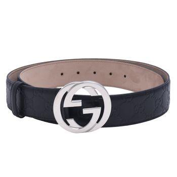 GUCCI 經典Guccissima GG壓紋銀釦牛皮腰帶/皮帶(藏藍_95cm)