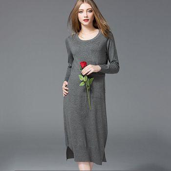 【M2M】素色圓領針織長袖連身長裙(共三色)