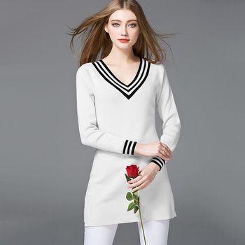 【M2M】V領滾邊條紋長袖針織上衣(共三色)