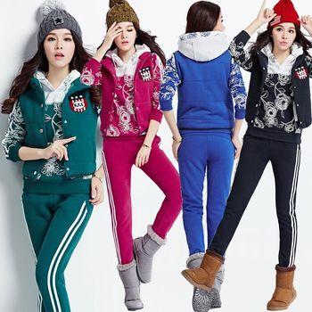【理子時尚】時尚線型印花加厚休閒服三件套裝(共四色)