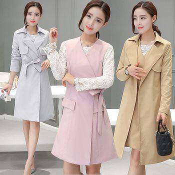 【理子時尚】韓版純色背心裙風衣外套兩件套(共三色)