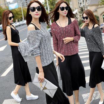 【理子時尚】韓版針織長袖上衣背心裙兩件套(共三色)
