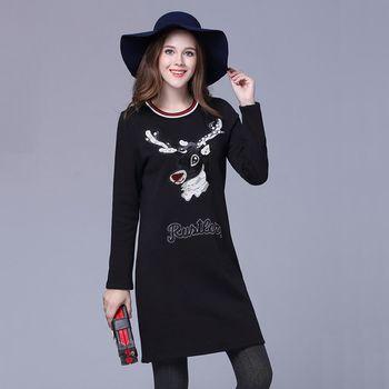 【KVOLL中大尺碼】鹿頭刺繡圓領簡約洋裝