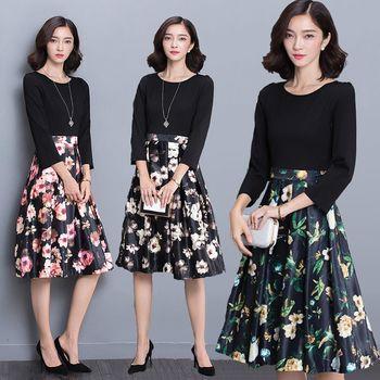 【理子時尚】韓版七分袖上衣拼接碎花洋裝(共三色)