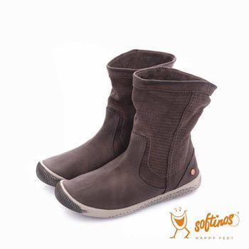 Softinos(女) - HAPPY FEET 十字壓紋超軟牛皮中筒短靴 - 溫暖咖