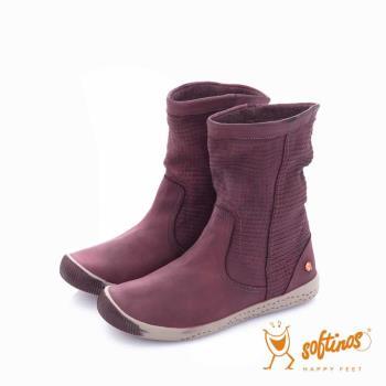 Softinos(女) - HAPPY FEET 十字壓紋超軟牛皮中筒短靴 - 温情紫