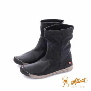 Softinos(女)  HAPPY FEET 十字壓紋超軟牛皮中筒短靴 - 温柔黑