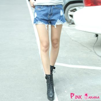 Pink Banana-顯瘦刷破鬚鬚牛仔短褲(二色)-X15294