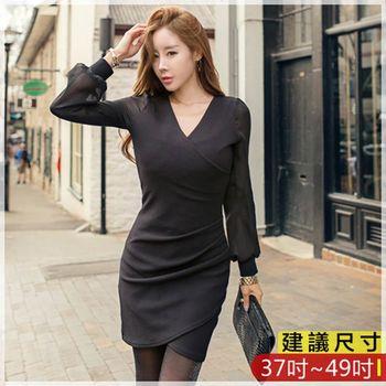 WOMA-W4689韓款簡約知性純色V領修身洋裝(黑)WOMA中大尺碼洋裝