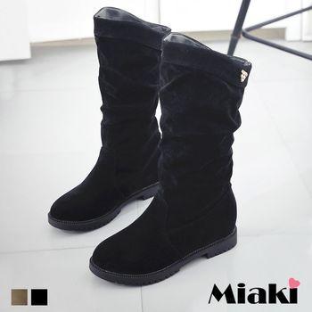 【Miaki】長靴歐美個性簡約抓皺絨質低跟包鞋 (卡其色 / 黑色)