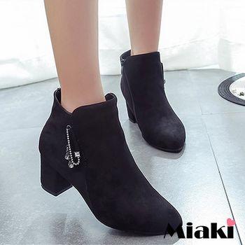 【Miaki】短靴歐美時尚水鑽綴飾尖頭低跟包鞋 (黑色)