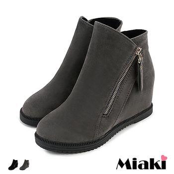 【Miaki】短靴歐美絨質率性側拉鍊內增高包鞋 (灰色 /黑色)
