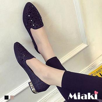 【Miaki】休閒鞋首爾都會金蔥水鑽綴飾低跟包鞋 (金色 / 黑色)