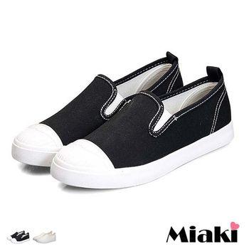【Miaki】休閒鞋美式車線拼接感平底懶人包鞋 (白色 / 黑色)