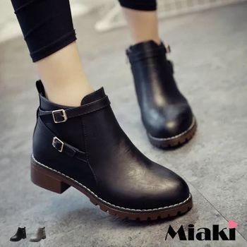 【Miaki】短靴韓交叉帶飾側拉鍊低跟平底包鞋 (灰色 / 黑色)