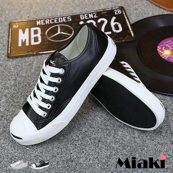 【Miaki】休閒鞋美式校園皮質綁帶平底懶人包鞋 (白色 / 黑色)