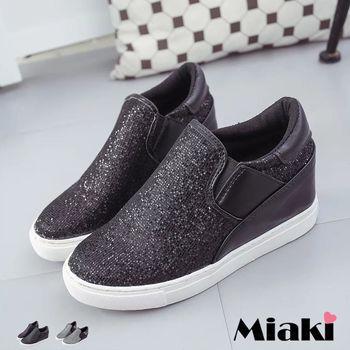 【Miaki】休閒鞋韓皮革璀璨拼接內增高平底懶人包鞋 (黑色 / 銀色)