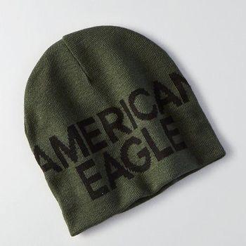 【American Eagle 】2016男時尚字母標誌橄欖綠雙面豆豆帽(預購)