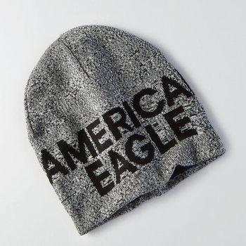【American Eagle 】2016男時尚字母標誌深灰色雙面豆豆帽(預購)