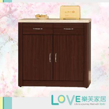 【LOVE樂芙】瓊安胡桃色2.7尺仿石紋餐櫃下座