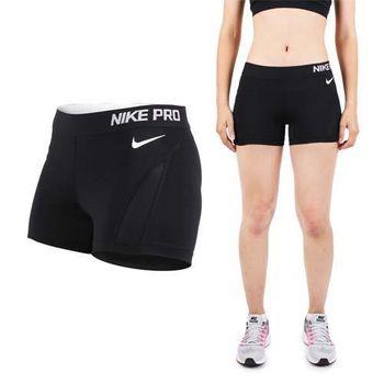 【NIKE】女針織短褲-慢跑 路跑 健身 訓練 黑白   側邊網布