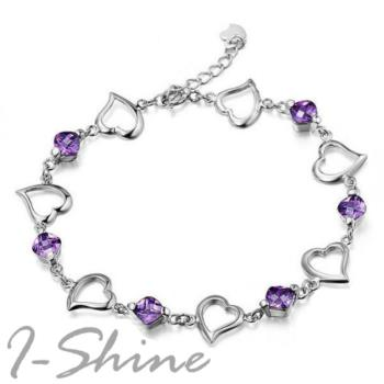 【I-Shine】紫色愛戀-正白K 簍空愛心紫晶鑽氣質手鍊