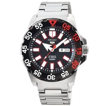SEIKO 精工5號超霸機械鋼帶腕錶-IP黑框 / SRP487K1