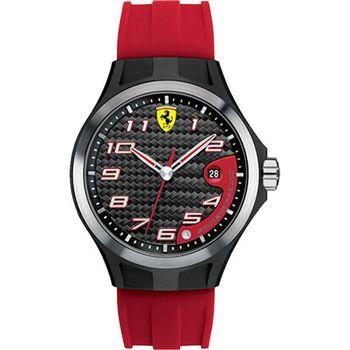 Scuderia Ferrari 法拉利賽車紅色時尚腕錶-膠帶款/44mm-FA0830014
