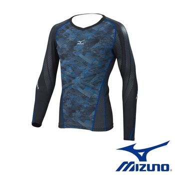【Mizuno 美津濃】   BG7000T 支撐型緊身衣 K2MJ6B6293 (黑麻花藍)