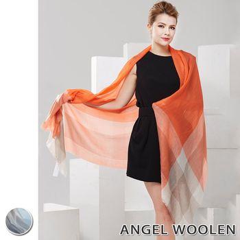 【ANGEL WOOLEN】悠揚藍調100%Cashmere羊絨披肩 圍巾(共兩色)