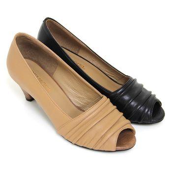 【GREEN PHOENIX】不對稱抓皺層次全真皮低跟魚口鞋-卡其色、黑色