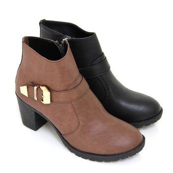 【Pretty】個性品味側拉鍊粗高跟短靴-咖啡色、黑色