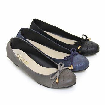 【Pretty】蝴蝶結拼接菱格紋低跟娃娃鞋-藍毛、灰毛、黑毛