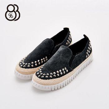 【88%】韓國製 正韓空運 布面編織鉚釘 平底 休閒鞋 懶人鞋 2色