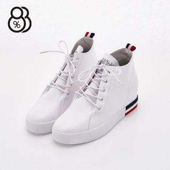 【88%】韓國製 正韓空運 綁帶 真皮 跟高2.5cm 隱形內增高4cm 休閒鞋 增高鞋 2色
