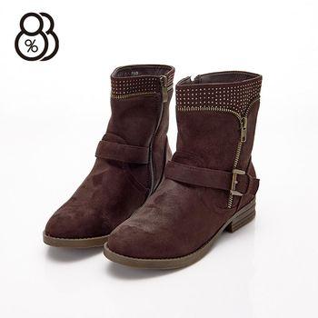 【88%】秋冬百搭靴 水鑽點綴 側拉鍊 絨布材質 中筒靴 機車靴 靴子 跟高3.2cm 2色