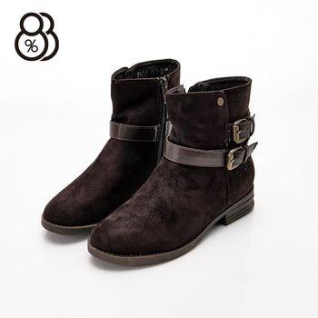 【88%】秋冬百搭靴 內側拉鍊 絨布材質 中筒靴 機車靴 靴子 跟高3.2cm 2色