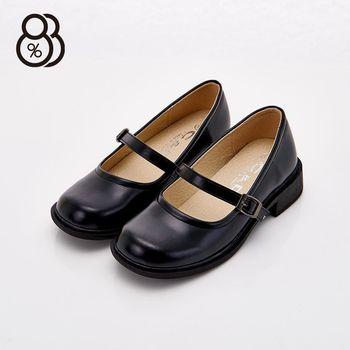 【88%】MIT台灣製 透氣皮革 學生款 扣環 包鞋 皮鞋 粗跟 跟高3cm(黑色)