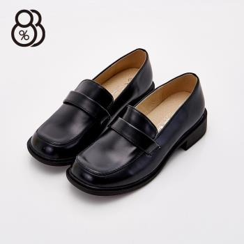 【88%】MIT台灣製 透氣皮革 學生款 免綁帶 包鞋 皮鞋 4cm低中粗跟(黑色)