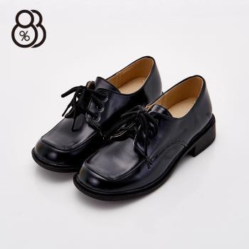 【88%】MIT台灣製 透氣皮革 學生款 綁帶 包鞋 跟高3cm 皮鞋