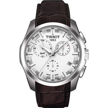TISSOT Couturier GMT 建構師系列計時腕錶-白x咖啡錶帶/41mm T0354391603100